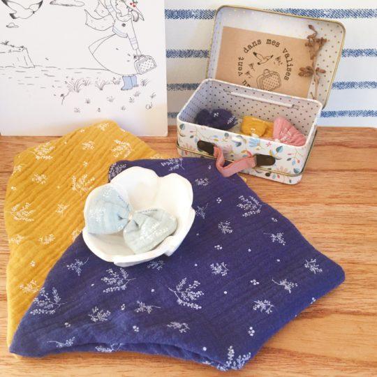 bavoir bandana bébé made in France double gaze imprimé végétal graciles graminées - du vent dans mes valises