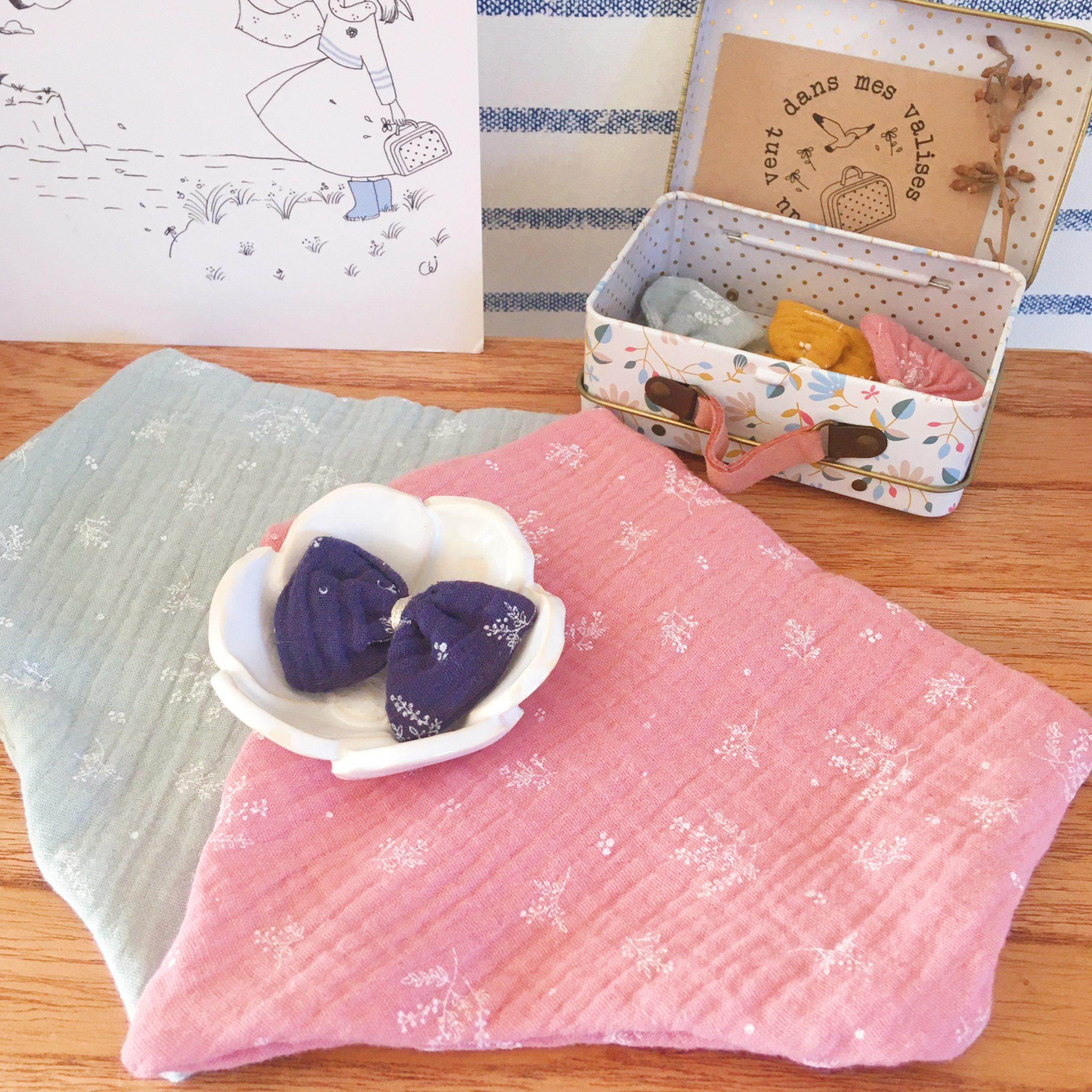 bavoir foulard bébé made in France double gaze imprimé végétal graciles graminées - du vent dans mes valises