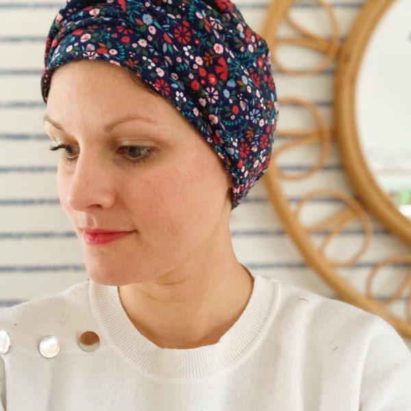 bonnet chimio extensible prêt à mettre avec bandeau twisté amovible femme alopécie pelade - du vent dans mes valises