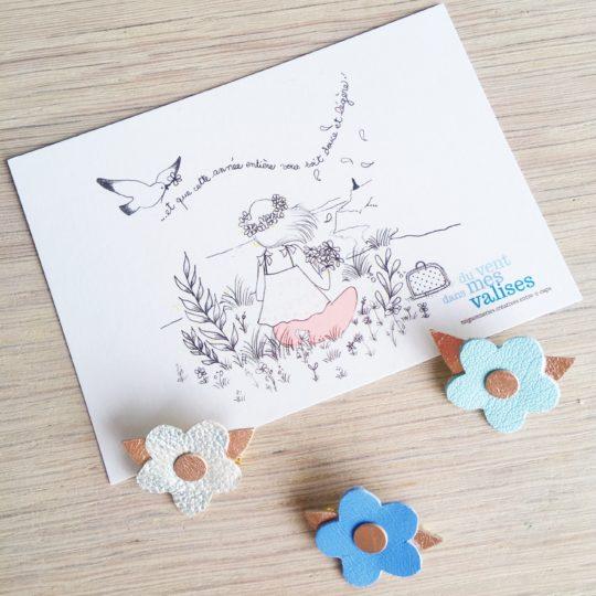 broche fleurs pastels bijoux poétiques en cuir made in france - du vent dans mes valises