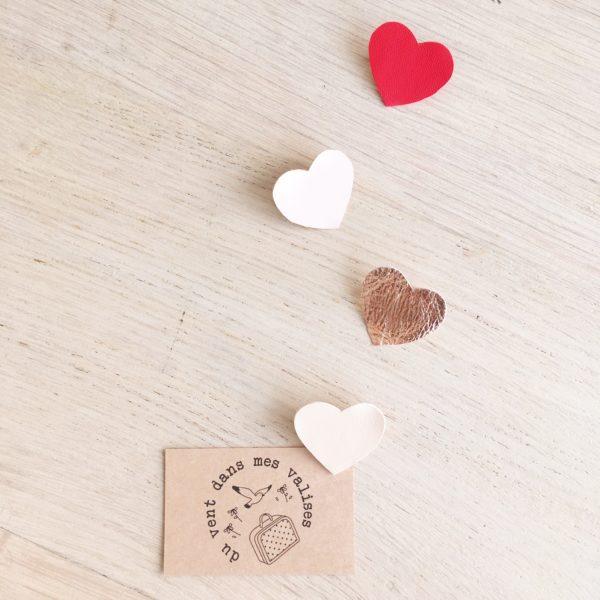 broches bijoux créateur coeurs d'amour en cuir tons roses et rouges - du vent dans mes valises