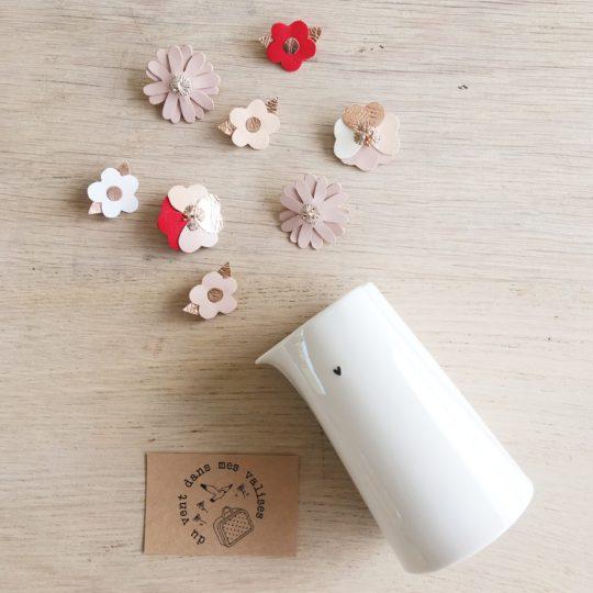 broches bijoux créateurs bouquet floral en cuir durable made in france - du vent dans mes valises