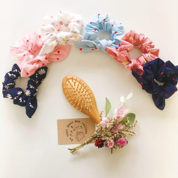 chouchou à noeud made in France, fleurs et coeurs d'amour - du vent dans mes valises