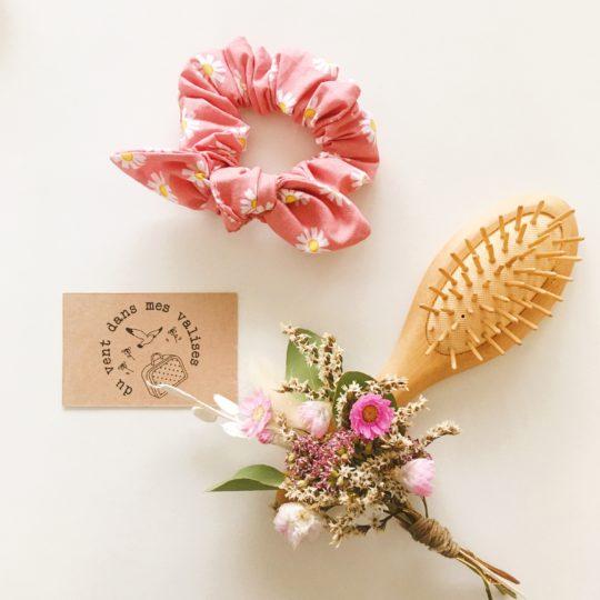 chouchou made in France, marguerites roses - du vent dans mes valises