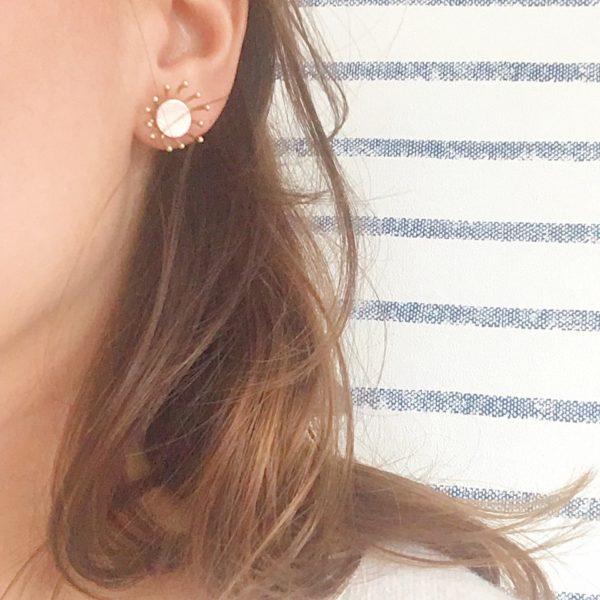 clous d'oreilles fleurs de pissenlits made in France, ivoire - du vent dans mes valises