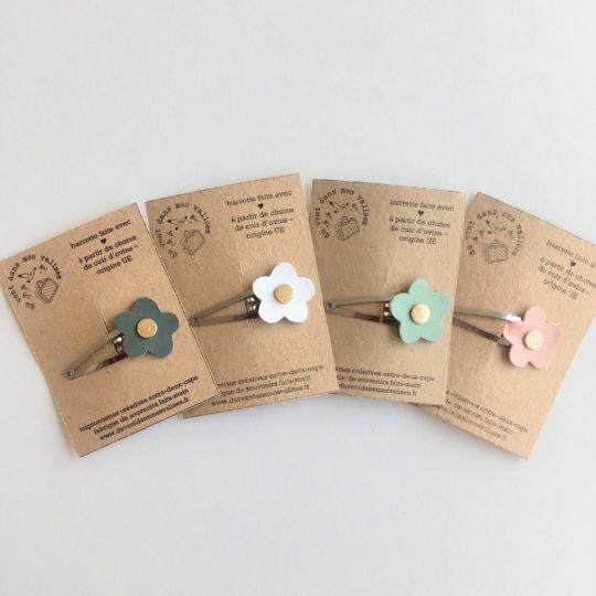 barrettes clic clac fleurs printemps made in france en cuir upcycled - du vent dans mes valises2
