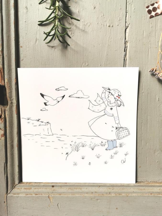 carte postale illustration poétique femme avec un chapeau une marinière et des bottes de pluie face aux falaises