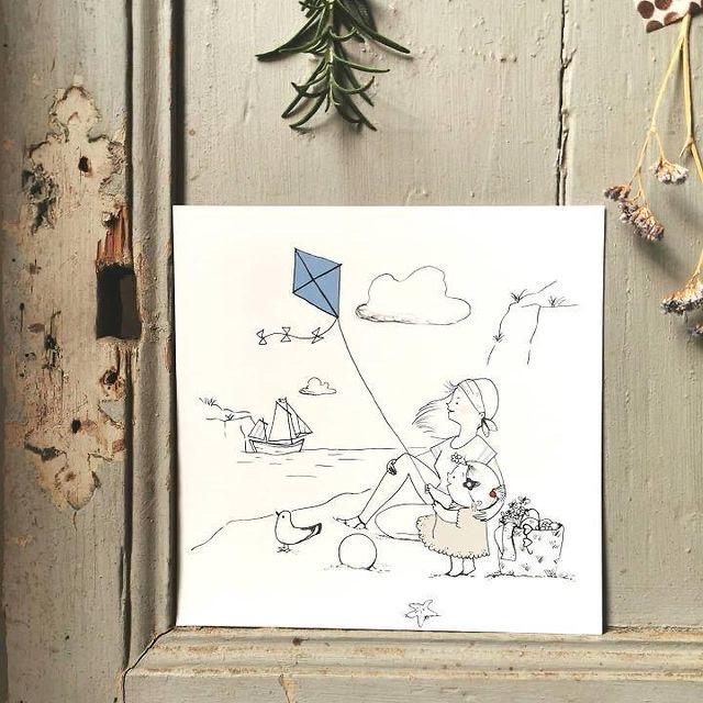 carte postale illustration poétique, le cerf-volant - du vent dans mes valises