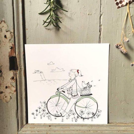 carte postale illustration poétique vélo champ de coquelicot vue sur mer - du vent dans mes valises