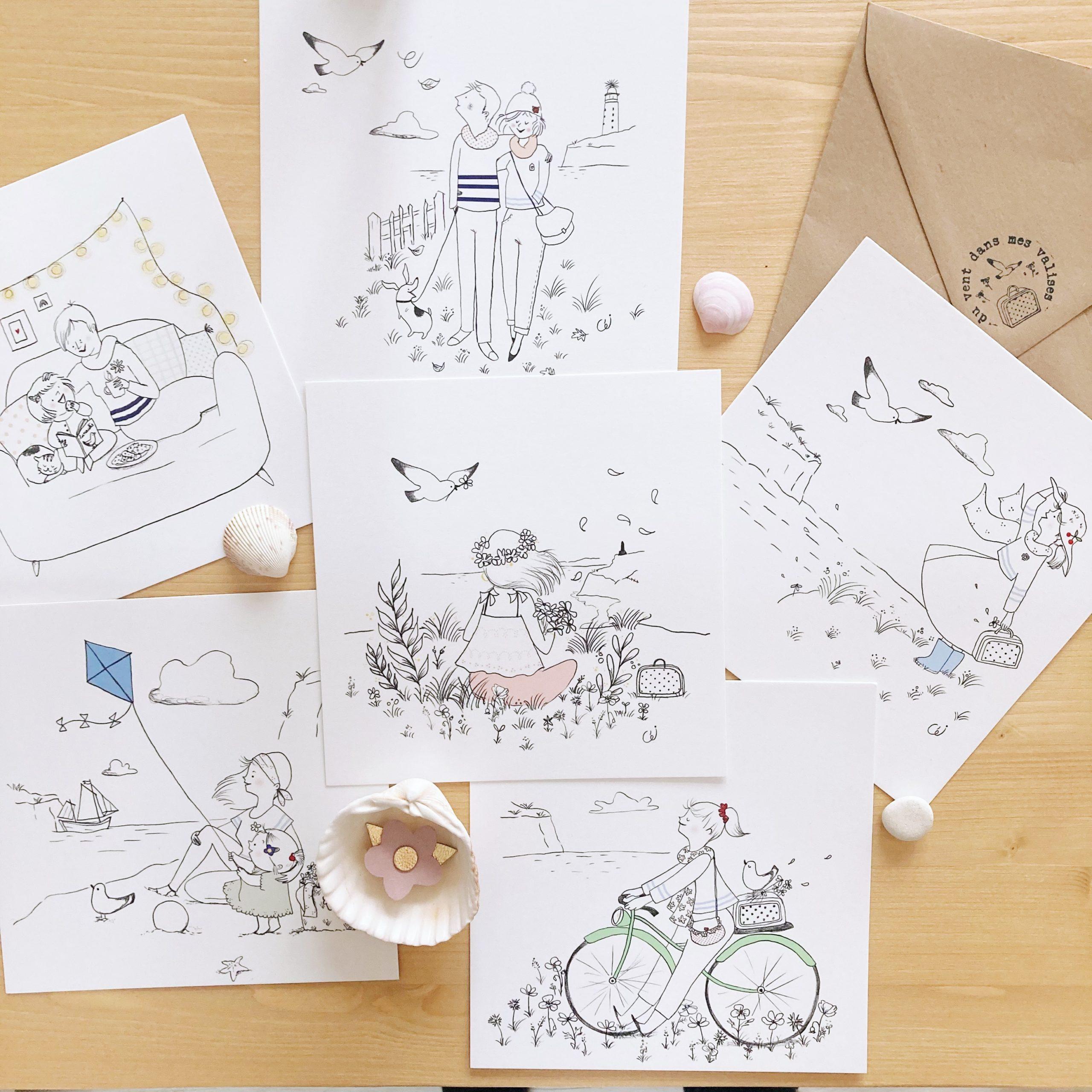 cartes poétiques illustrées, fabriquées en France de façon artisanale - Eulalie sous la lune x du vent dans mes valises