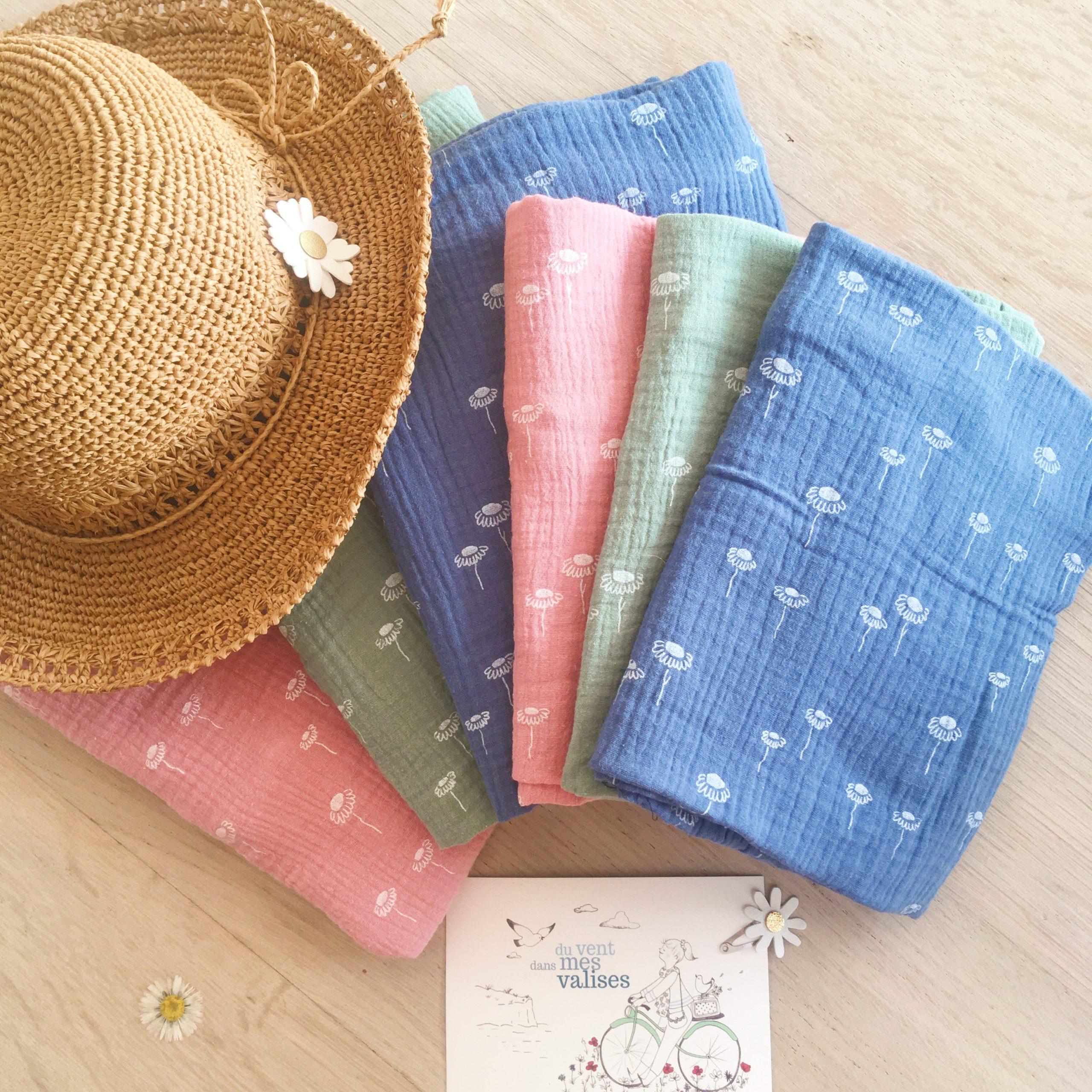 snoods femmes et filles fabrication française en gaze de coton motifs pâquerettes - du vent dans mes valises