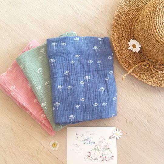 snoods fillettes fabriqués en France en gaze de coton fleurie - du vent dans mes valises