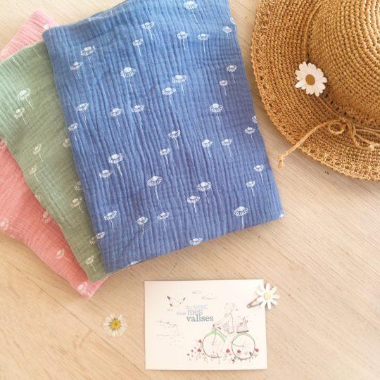snoods femmes bleus marguerites, snoods pâquerettes made in France - du vent dans mes valises5