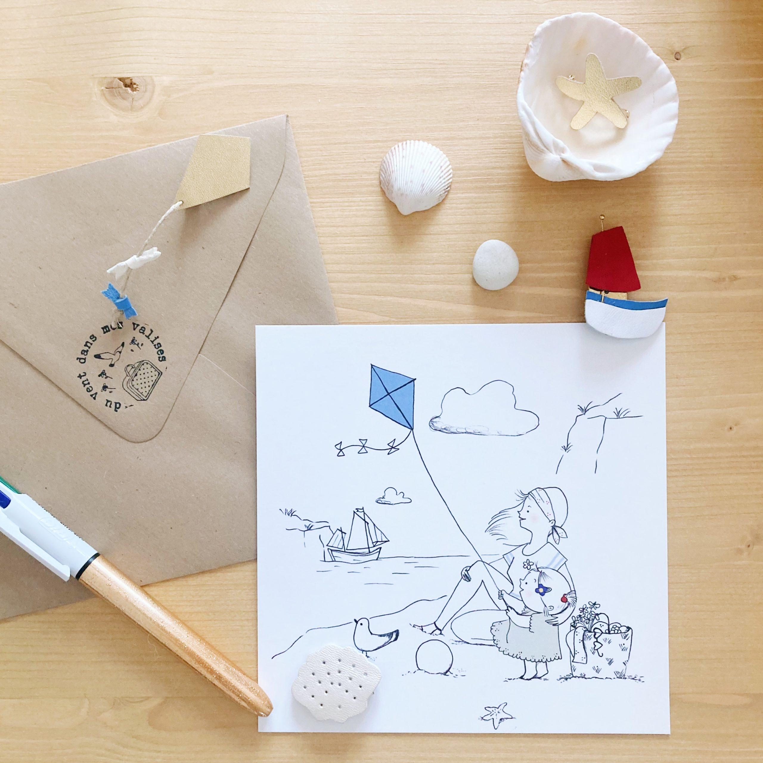 carte illustrée poétique fabrication artisanale française, maman et fille à la plage avec cerf-volant - du vent dans mes valises x Eulalie sous la lune