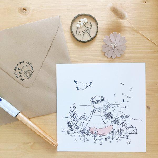 carte illustrée poétique fabrication artisanale française, le bouquet - du vent dans mes valises x Eulalie sous la lune