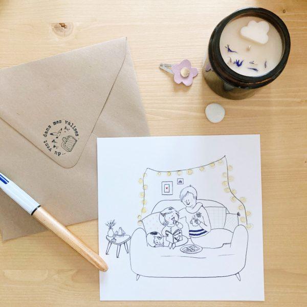 carte illustrée poétique fabrication artisanale française, grand mère et fillette dans le canapé - du vent dans mes valises x Eulalie sous la lune