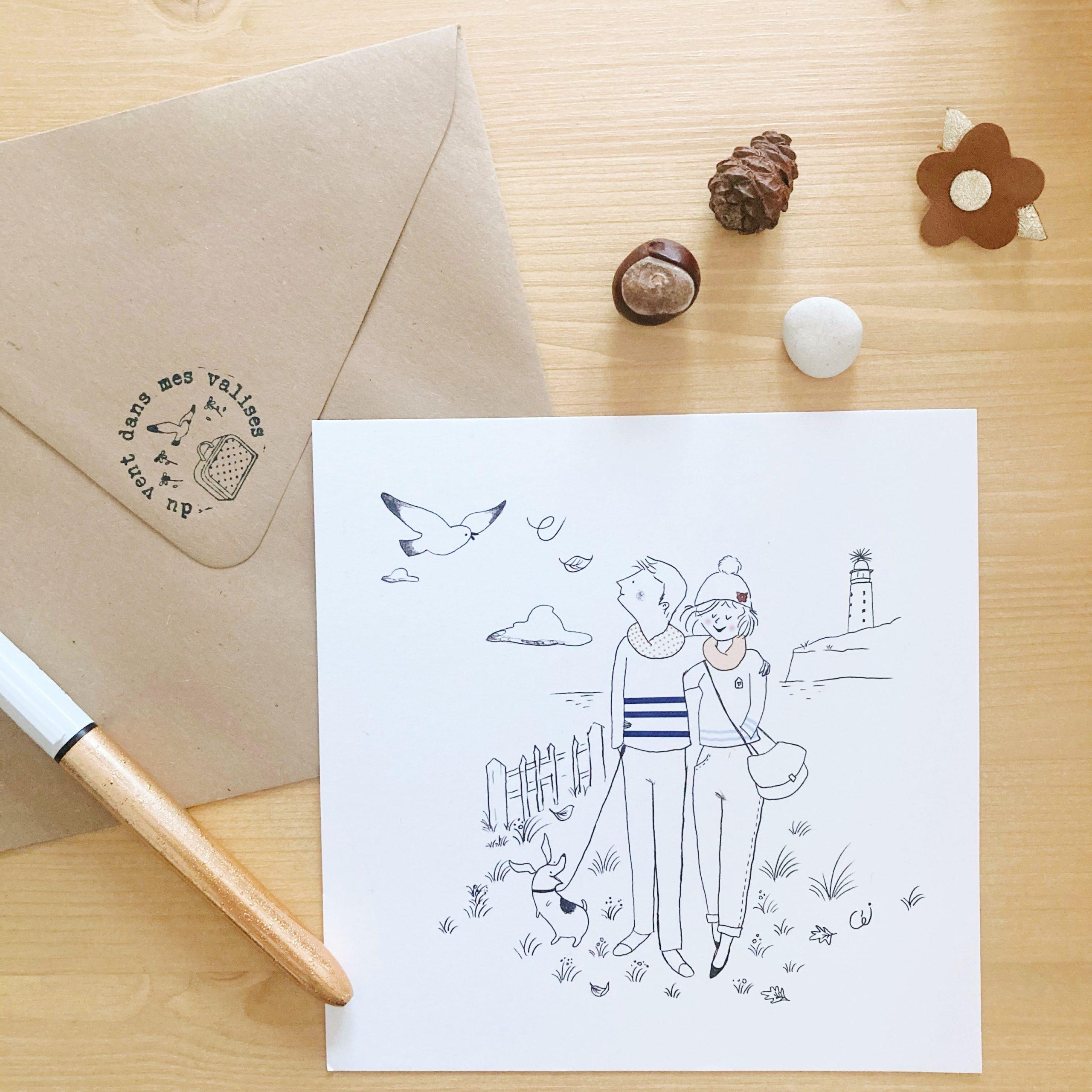 carte illustrée poétique fabrication artisanale française, la promenade en couple au cap gris nez - du vent dans mes valises x Eulalie sous la lune