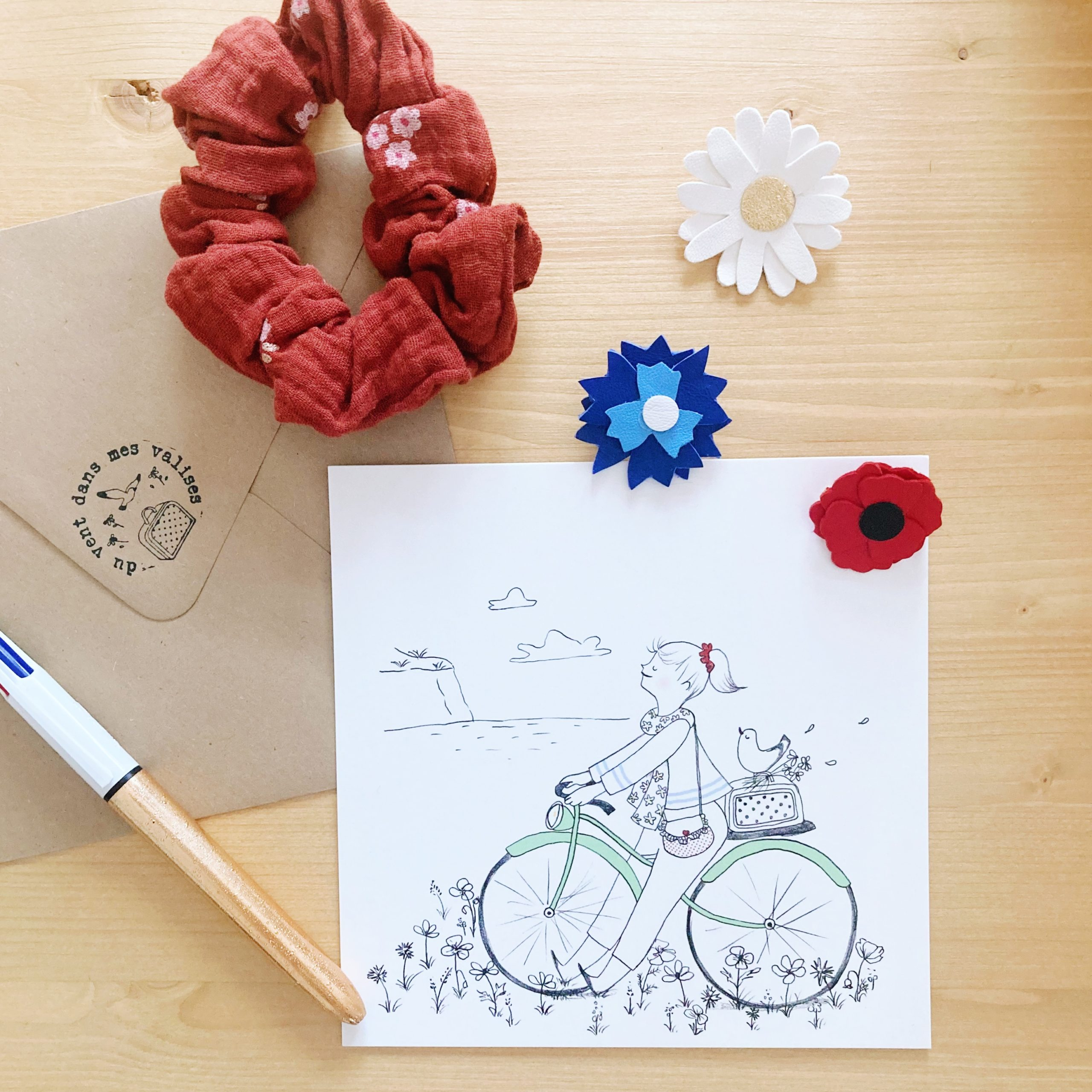 carte illustrée poétique fabrication artisanale française, le vélo - du vent dans mes valises x Eulalie sous la lune