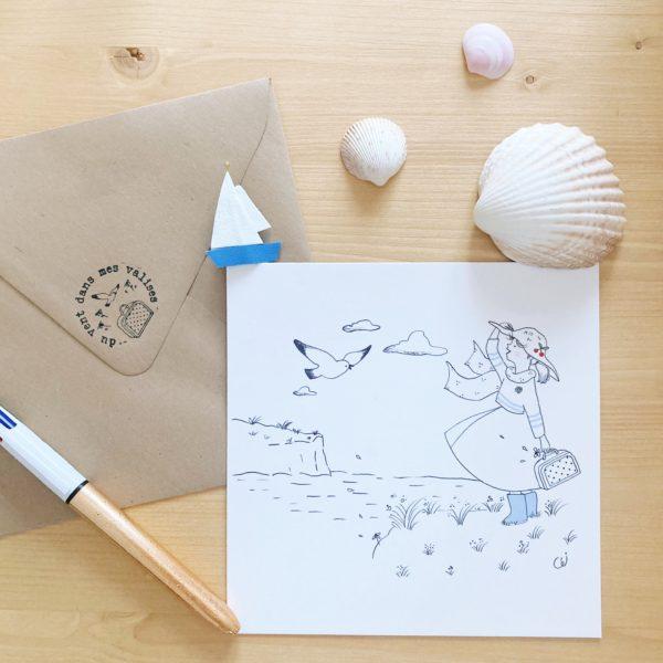carte illustrée poétique fabrication artisanale française, femme libre comme l'air du haut des falaises - du vent dans mes valises x Eulalie sous la lune