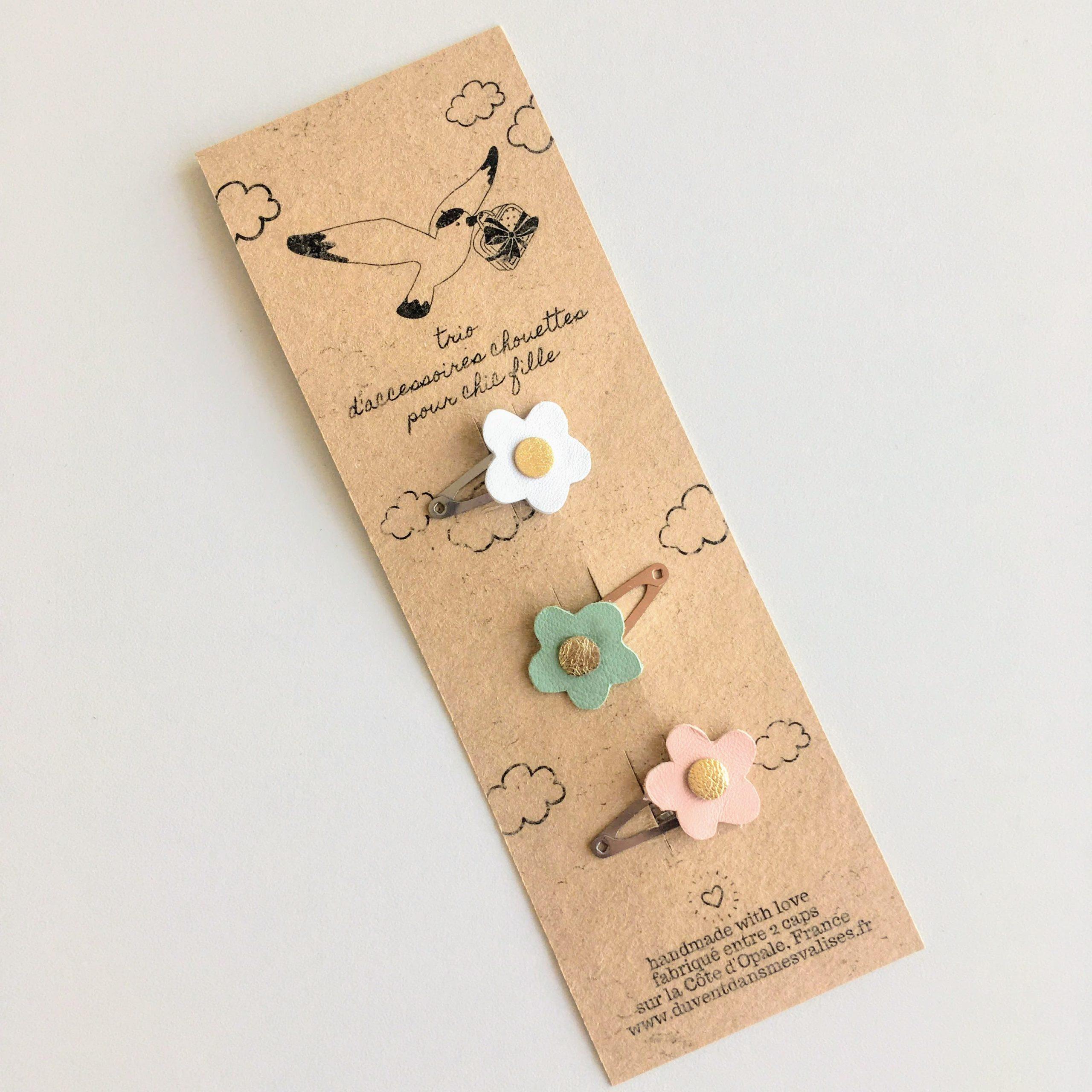 trio de barrettes clic clac fleurs made in france en cuir upcycled - du vent dans mes valises6