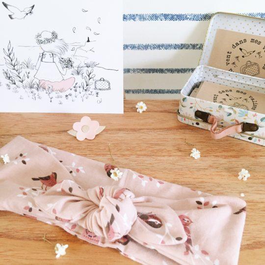 bandeau-printanier-fabrique-en-France-moineaux-et-branches-en-fleurs-du-vent-dans-mes-valises