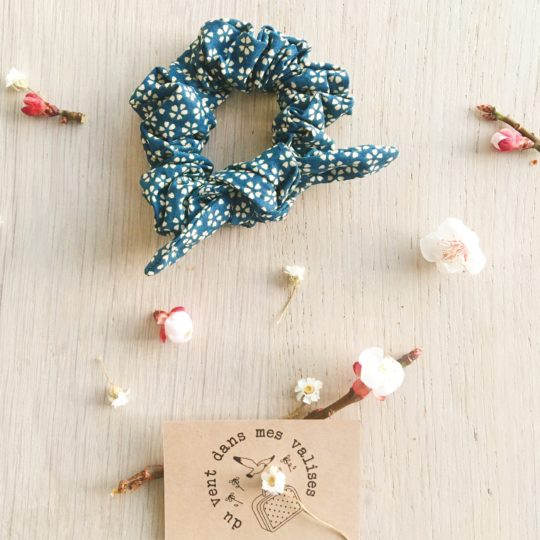 chouchou femme floral myosotis bleu paon - du vent dans mes valises