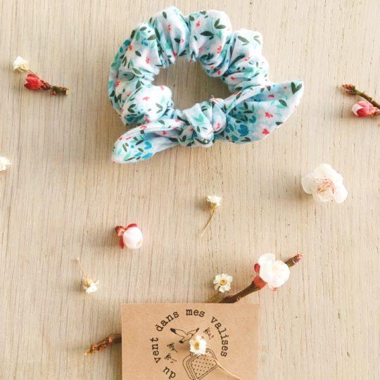 chouchou femme noeud amovible fleur de cerisier azur - du vent dans mes valises