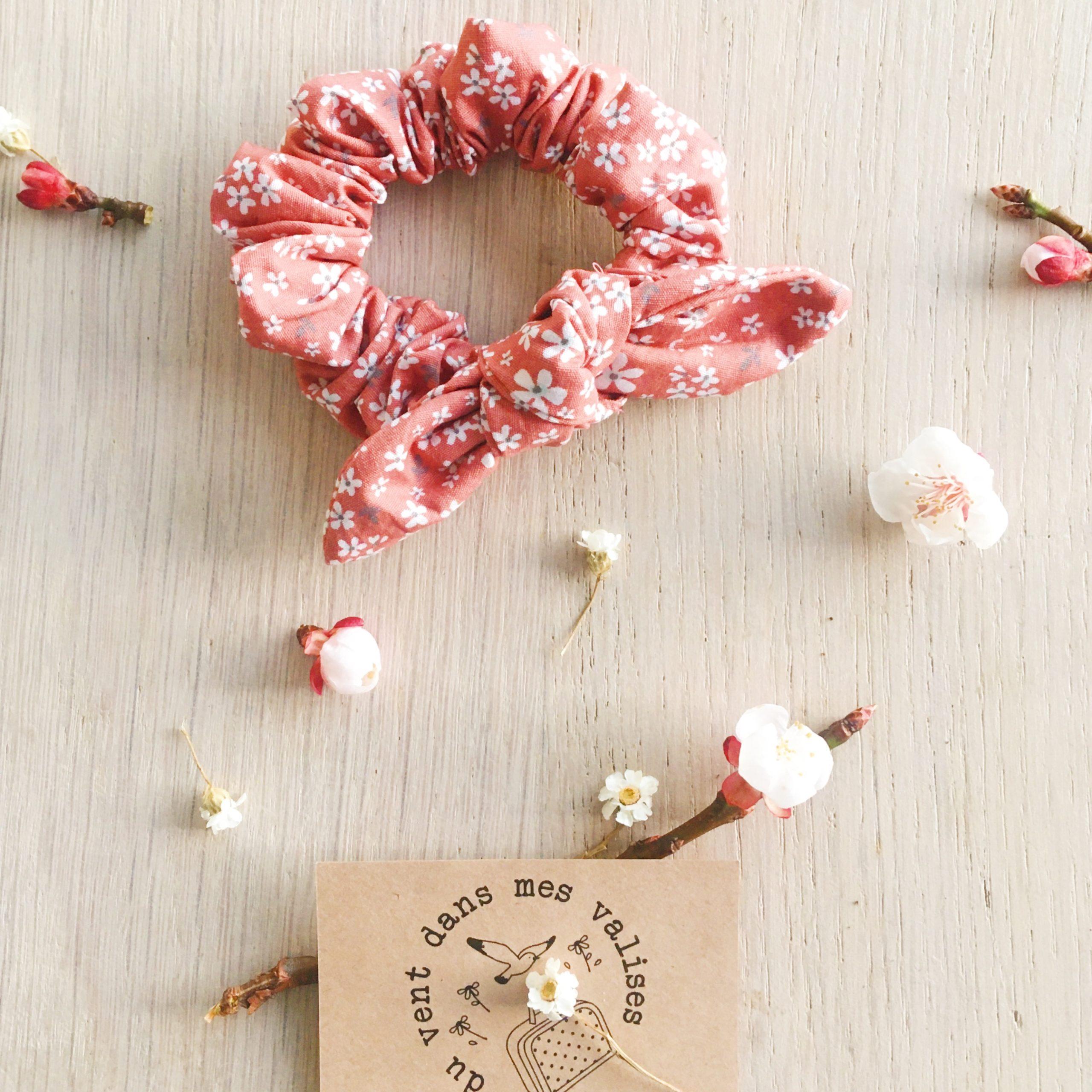chouchou floral fleurs de cerisier vieux rose - du vent dans mes valises