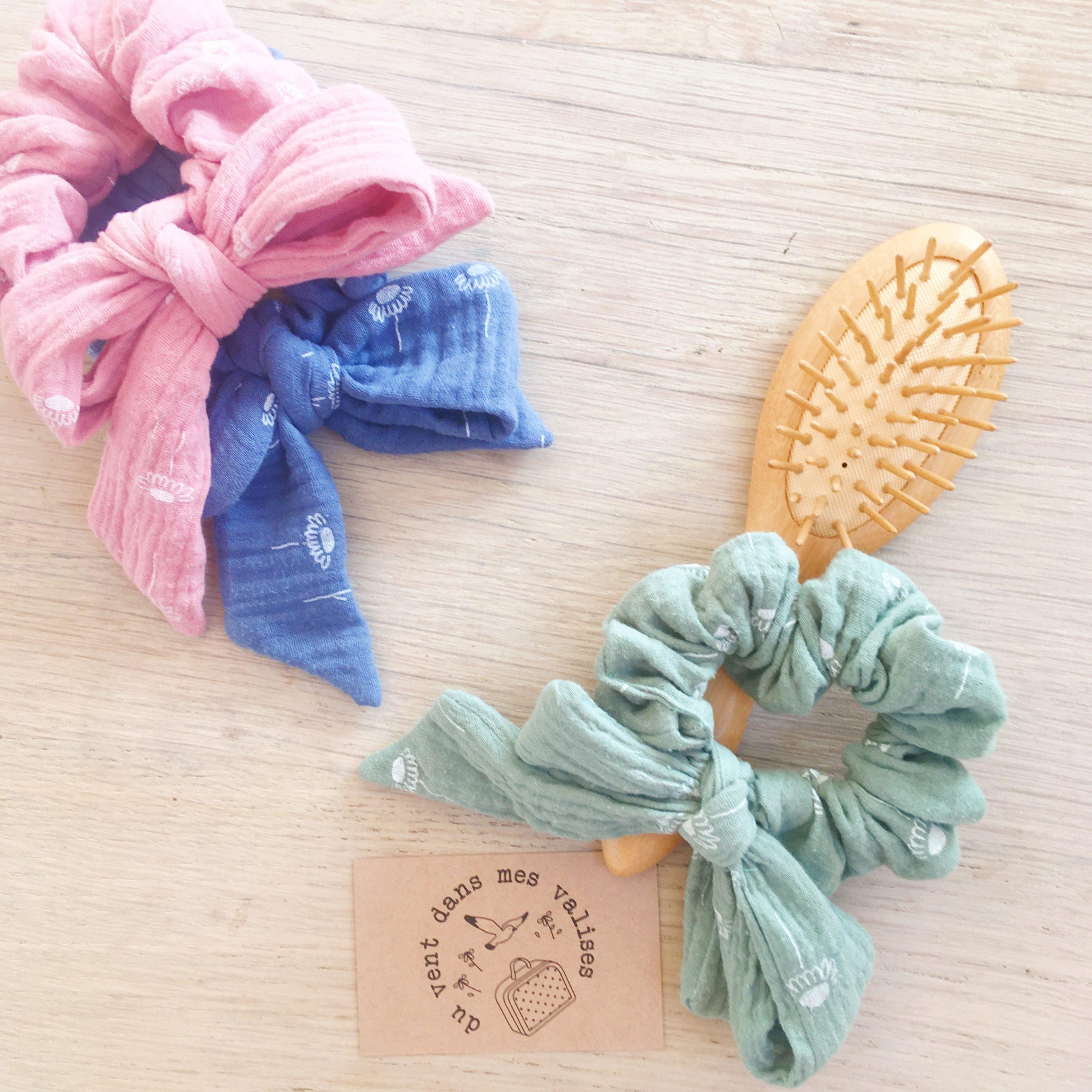 chouchou noeud foulchie chic motif adorable pâquerettes fabrication artisanale française en double gaze de coton - du vent dans mes valises7