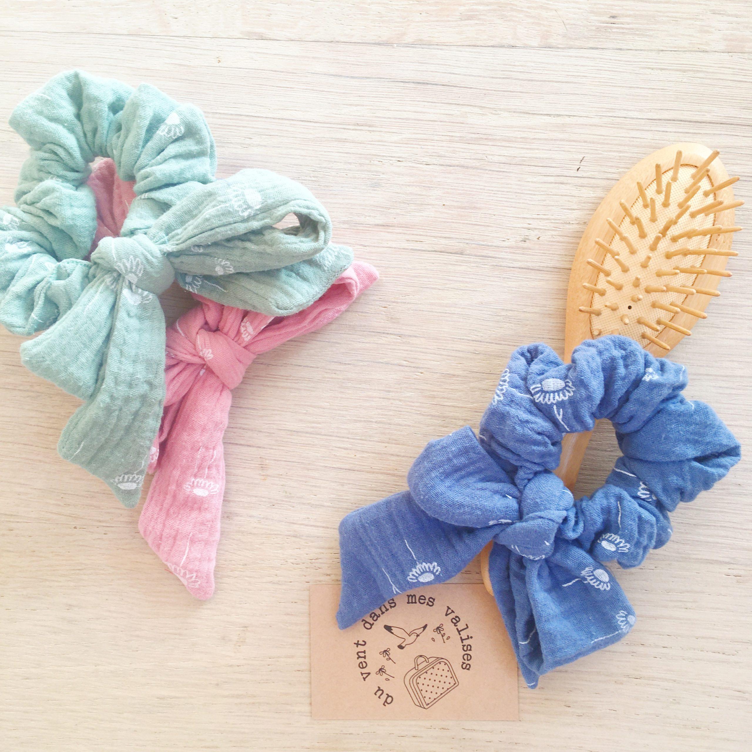chouchou noeud foulchie chic motif adorable pâquerettes fabrication artisanale française en double gaze de coton - du vent dans mes valises8