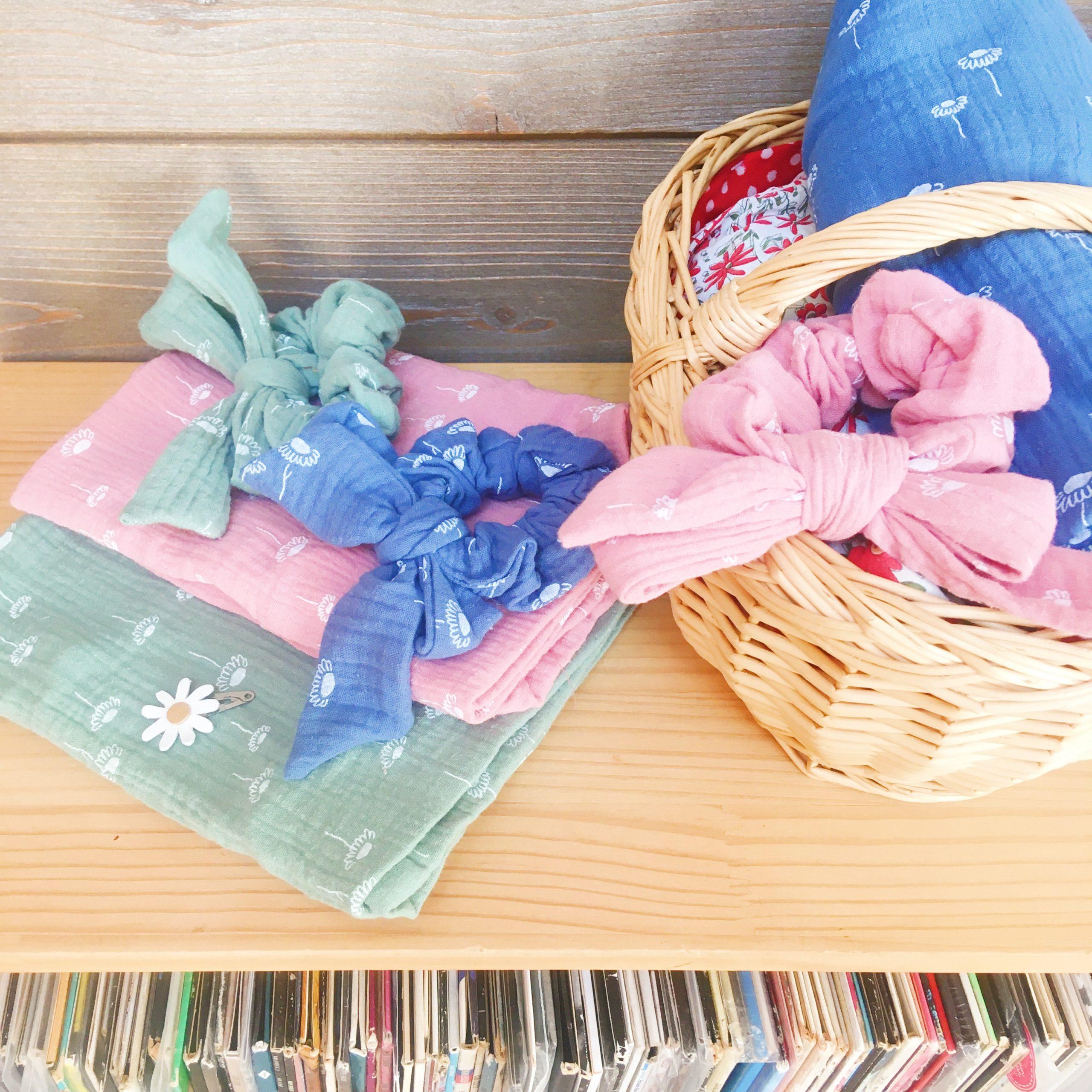 chouchous à noeud foulchie chic collection les prairies fabrication artisanale française en double gaze de coton - du vent dans mes valises1
