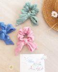 chouchous made in france noeud foulchie chic motif adorable pâquerettes en double gaze de coton - du vent dans mes valises