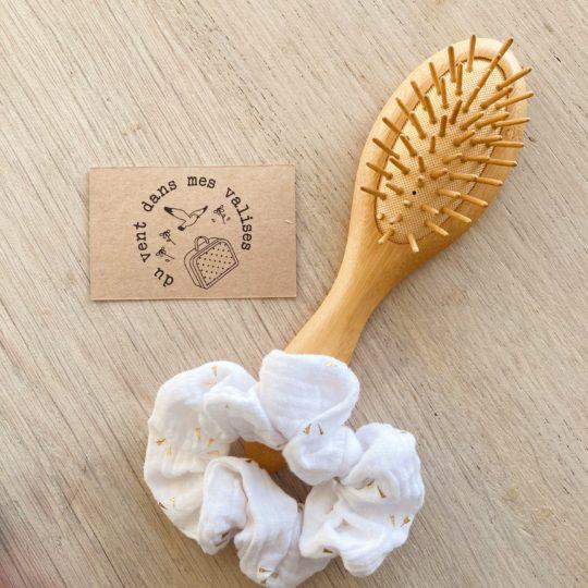 chouchou chic blanc or fabrication artisanale française - du vent dans mes valises