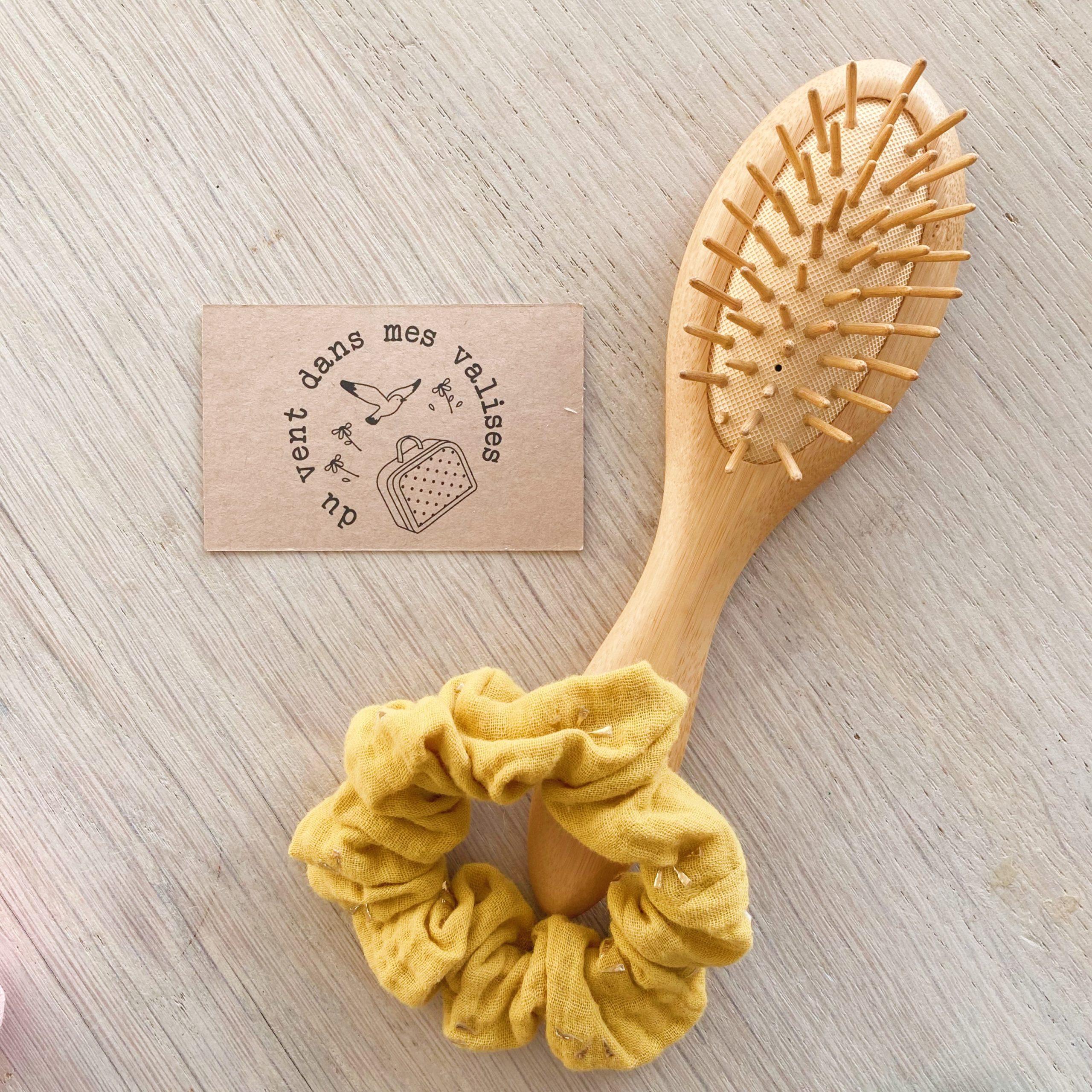 chouchou chic jaune or fabrication artisanale française - du vent dans mes valises
