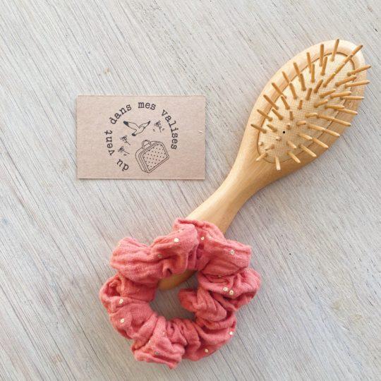 chouchou chic rose marsala or fabrication artisanale française - du vent dans mes valises
