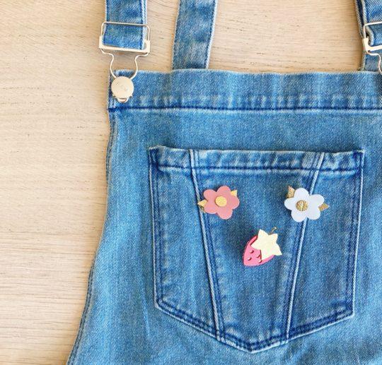 trio de broches fraise et fleurettes fabrication artisanale française - du vent dans mes valises