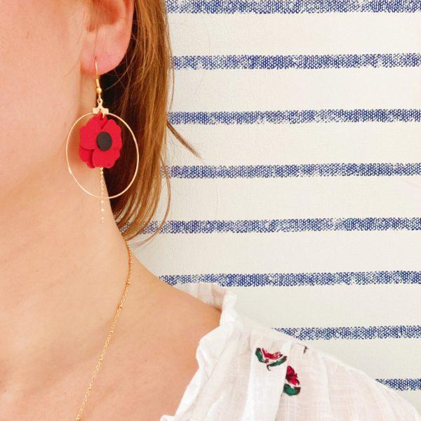 boucles d'oreilles créoles le coquelicot bijou créateur made in france - du vent dans mes valises