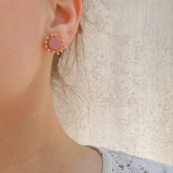 boucles d'oreilles pissenlits made in france vieux rose - du vent dans mes valises