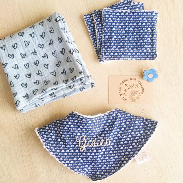 box cadeau de naissance made in France personnalisée avec broderie prénom bébé - du vent dans mes valises