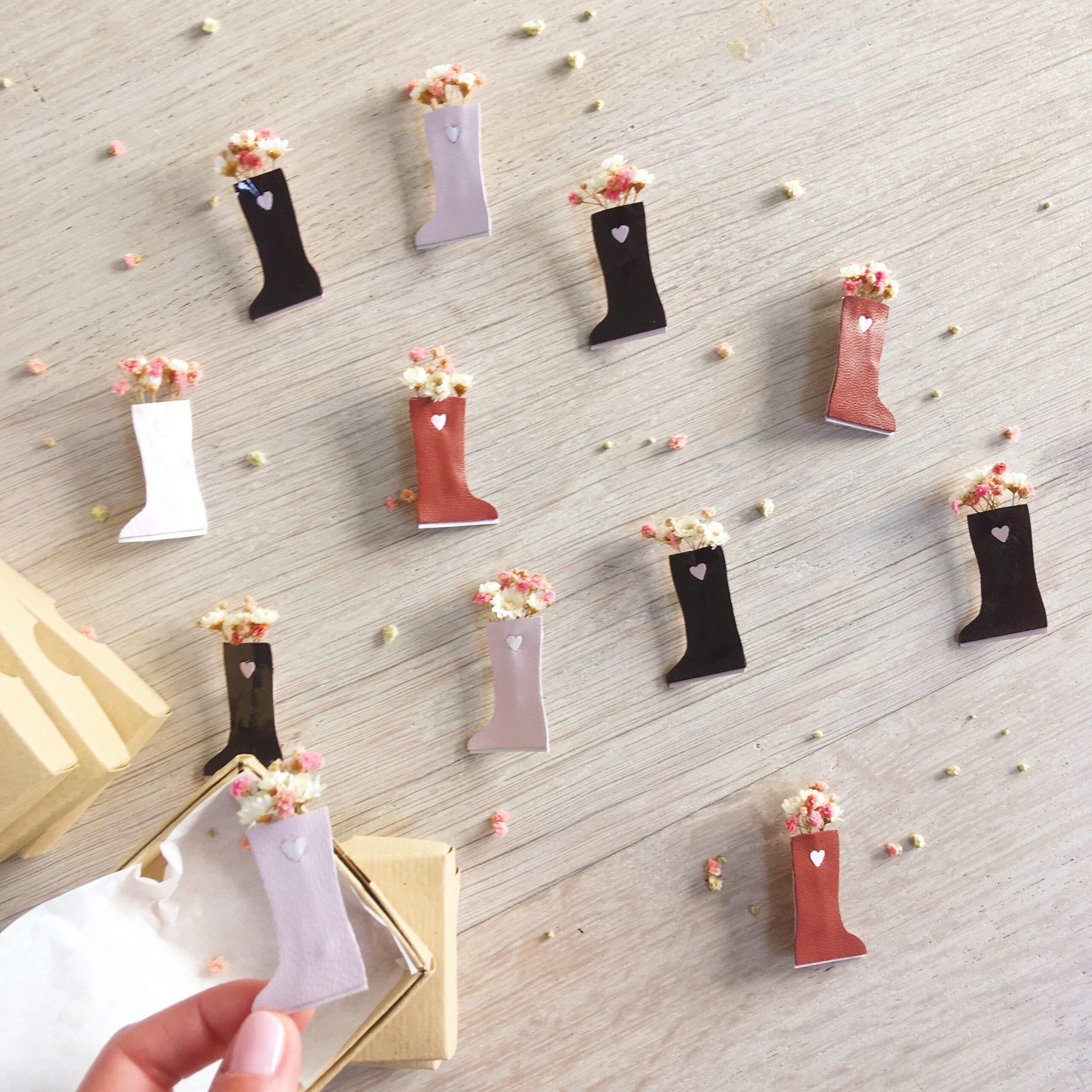 broche fleurie en cuir femme botte de fleurs séchées bijou made in France - du vent dans mes valises