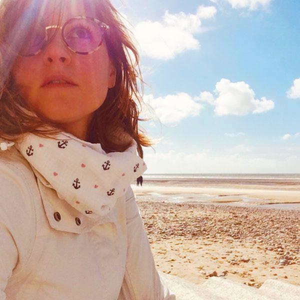 snood blanc et ancres marines coeurs roses - du vent dans mes valises