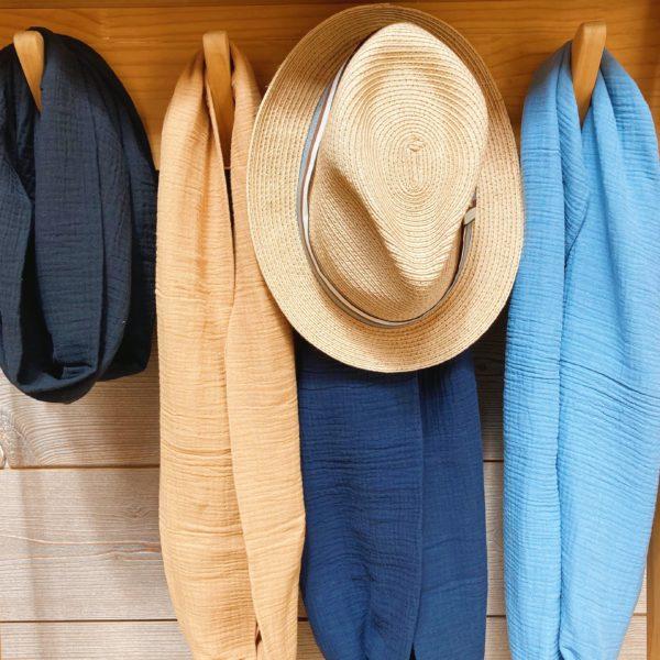 snoods hommes ou femmes, mixtes et unis fabrication artisanale française en double gaze de coton - du vent dans mes valises