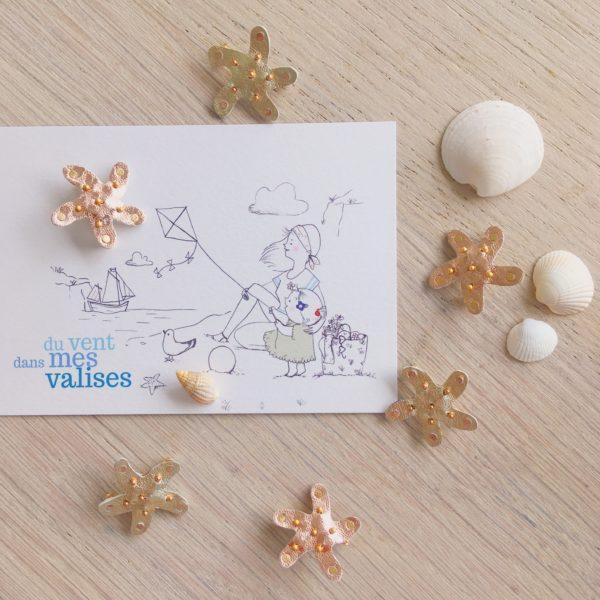 broches étoiles de mer dorées et or rose made in france - du vent dans mes valises
