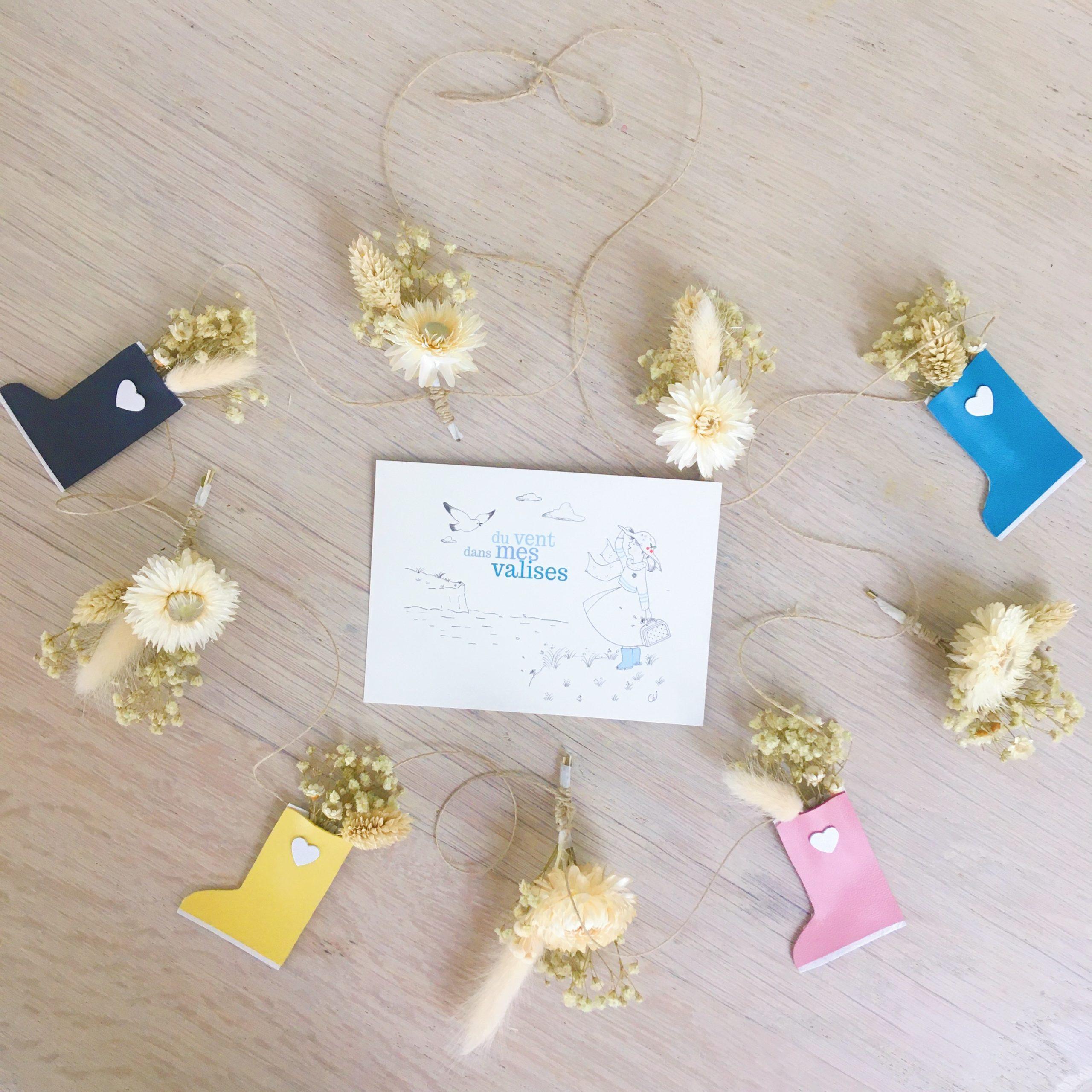 guirlande de fleurs séchées et sujets en cuir poétiques, fabriquée en France sur commande - du vent dans mes valises6