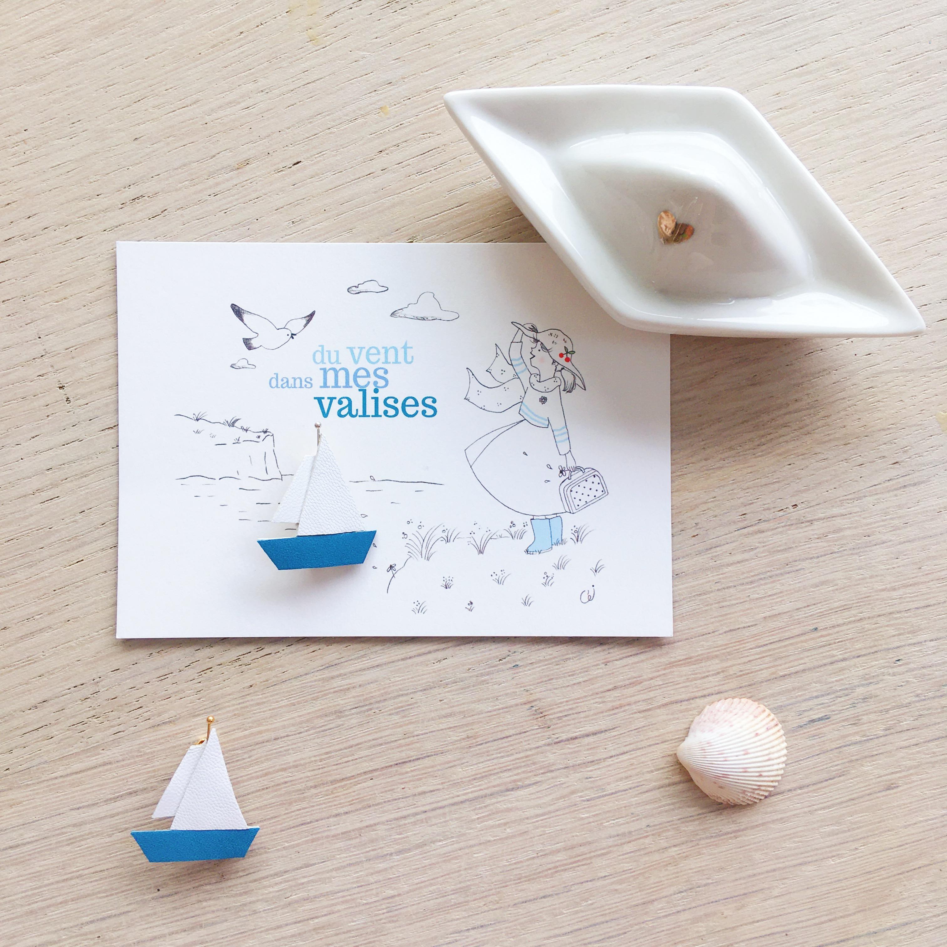 les petits voiliers broche poétique bijoux créateur pour l'été made in france - du vent dans mes valises