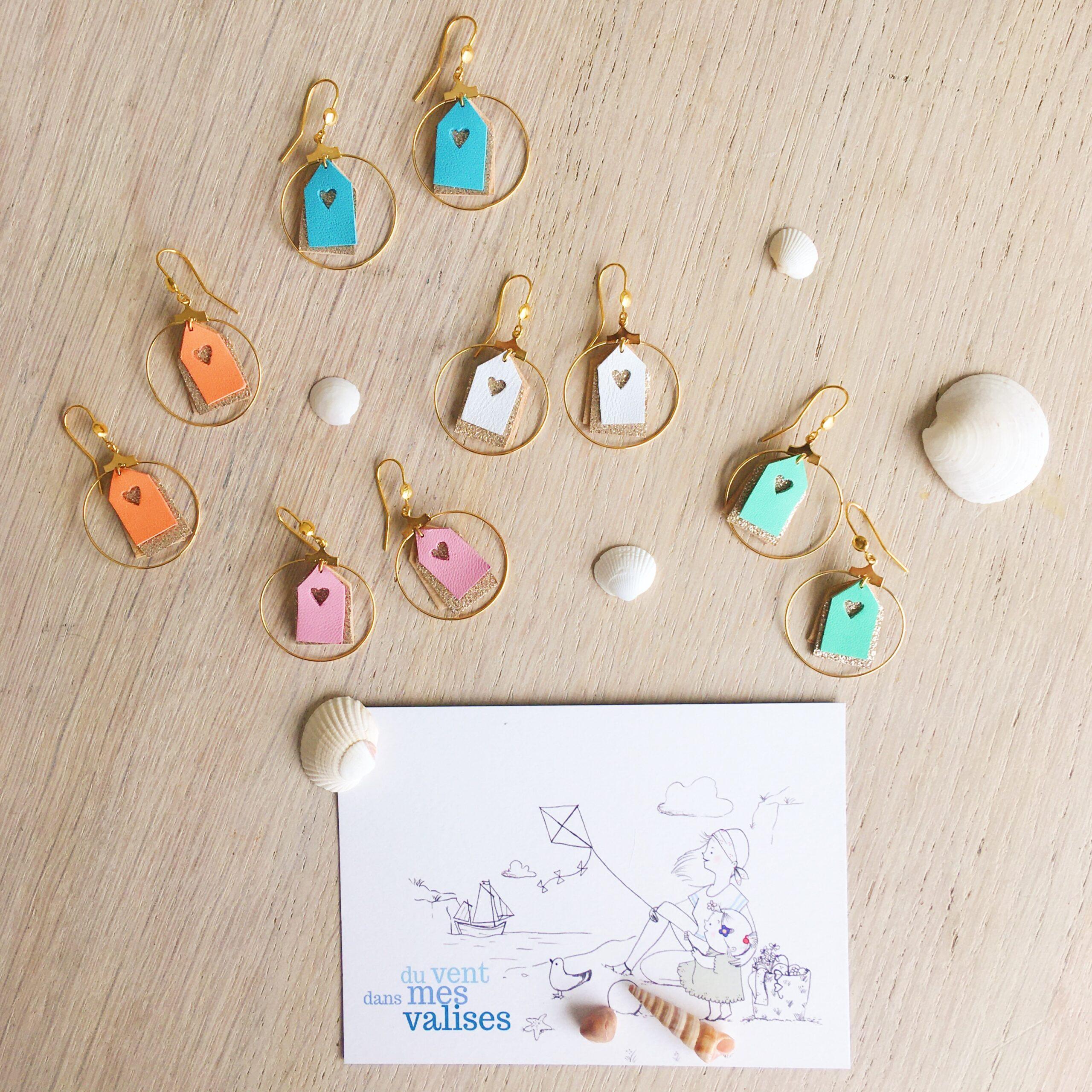 Boucles d'oreilles créoles les petites cabines de plage aux parfums d'été fabrication artisanale française - du vent dans mes valises