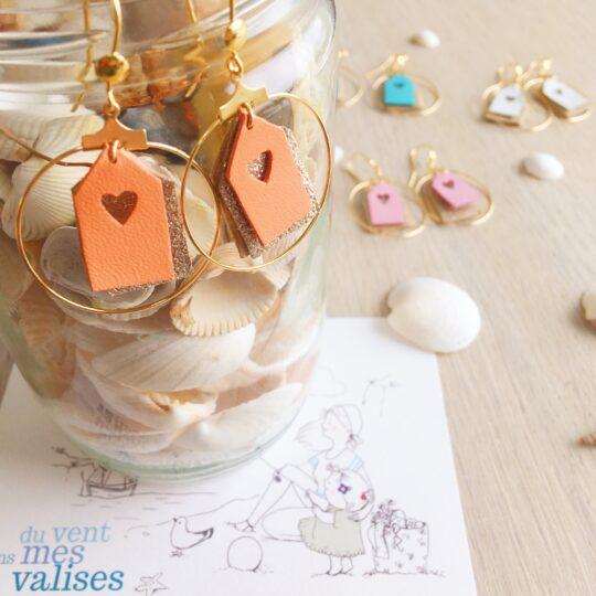 Boucles d'oreilles créoles les petites cabines de plage orange et dorées fabrication artisanale française - du vent dans mes valises
