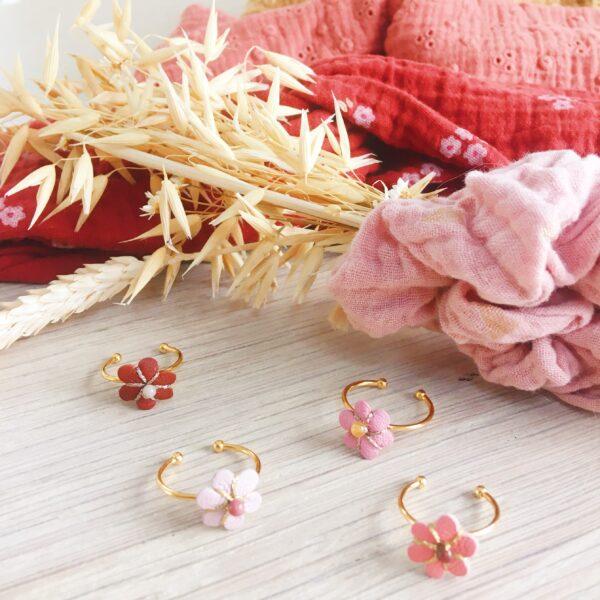 bague réglable bohème chic fabrication artisanale française cuir brodé main perles naturelles agathe - du vent dans mes valises