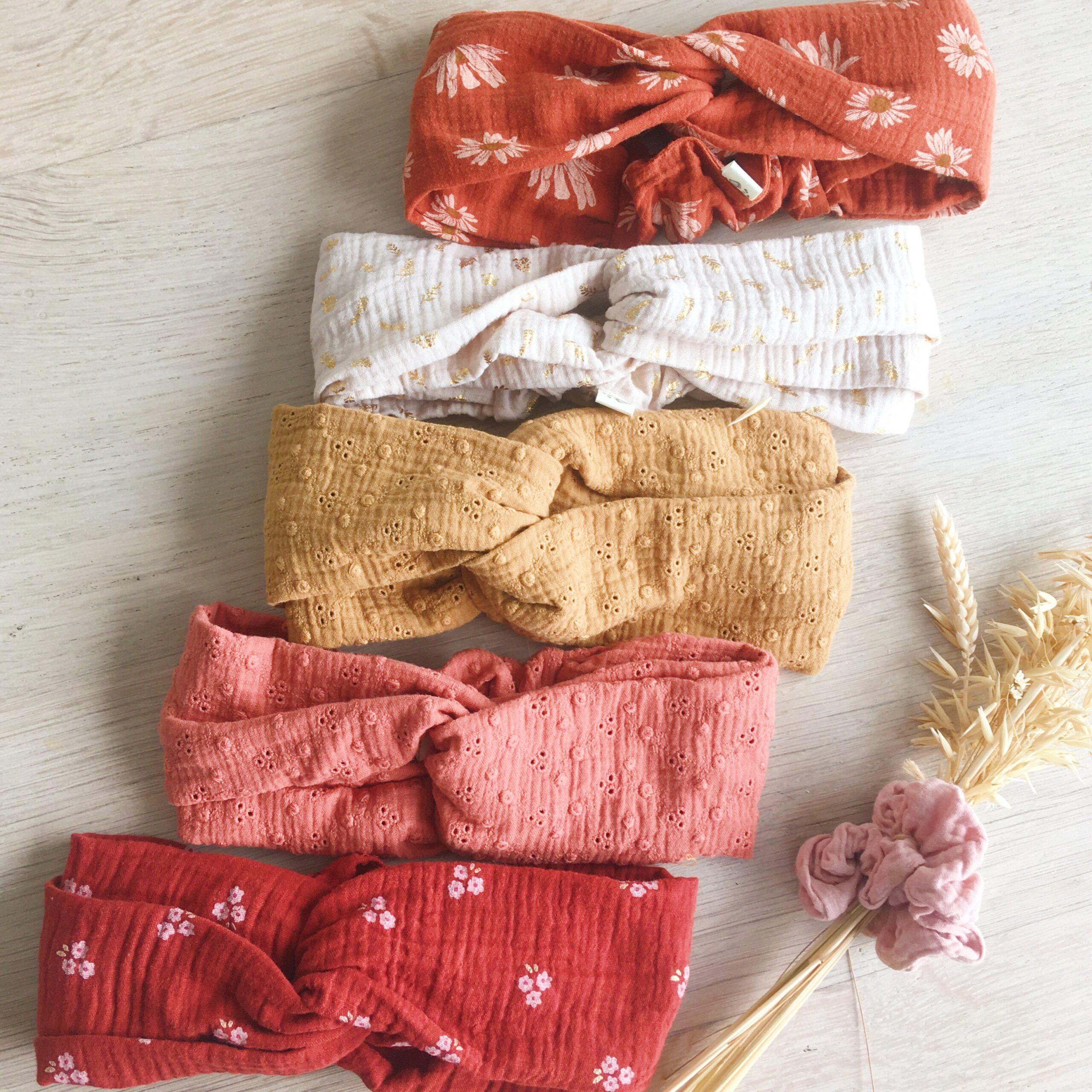 bandeau twisté headband femme fabriqués en France en double gaze de coton - du vent dans mes valises