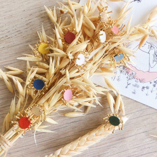 boucles bijoux d'oreilles florales aigrettes de pissenlit couleurs moissons dorées made in France - du vent dans mes valises
